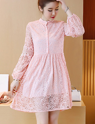 2299 Womens Plus Size Sexy Loose Lace Dresssolid Stand Above Knee Long Sleeve Polyester Spring Fall Mid Rise Inelastic Thin