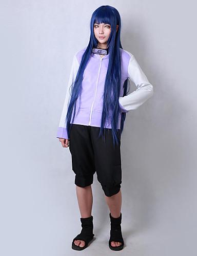 povoljno Anime cosplay-Inspirirana Naruto Hinata hyuga Anime Cosplay nošnje Japanski Cosplay Suits Jednobojni Dugih rukava Kaput / Kratke hlače Za Muškarci / Žene