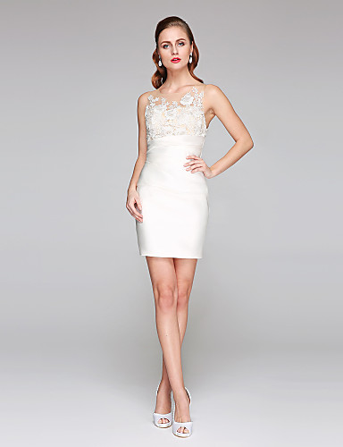 15999 Sheath Column Jewel Neck Short Mini Lace Over Satin Made To Measure Wedding Dresses With Appliques Side Draped By Lan Ting Bride