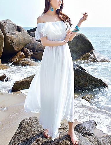 ca850e34fafc Women's Off Shoulder Holiday / Beach Boho Maxi Chiffon Dress - Solid  Colored White, Ruffle Boat Neck Summer White M L XL 5622848 2019 – $22.99