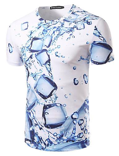 สำหรับผู้ชาย เสื้อเชิร์ต พื้นฐาน ชายหาด ลายพิมพ์ คอกลม เพรียวบาง รูปเรขาคณิต สีน้ำเงิน / แขนสั้น / ฤดูร้อน