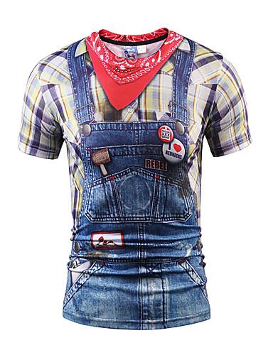 voordelige Heren T-shirts & tanktops-Heren Street chic Print T-shirt 3D Ronde hals Slank Fuchsia / Korte mouw / Zomer