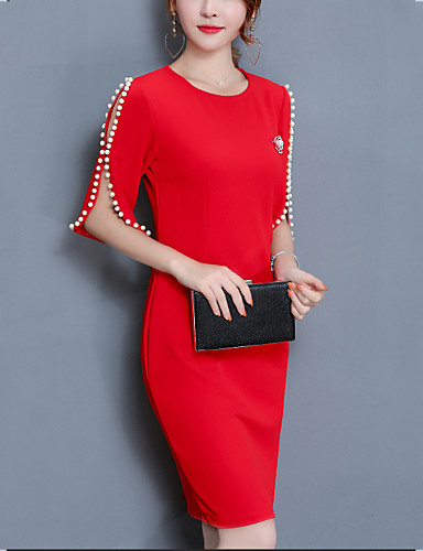 levne Pracovní šaty-Dámské Větší velikosti Jdeme ven Bavlna Pouzdro Šaty - Jednobarevné, Korálky Nad kolena Červená / Štíhlý