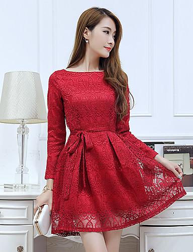 05f1c5a40d pre-2017 tavaszi és őszi új, hosszú ujjú csipke ruha női koreai vékony  egyszínű nagy udvarok vékony volt szó szoknya 5660202 2019 – $13.99