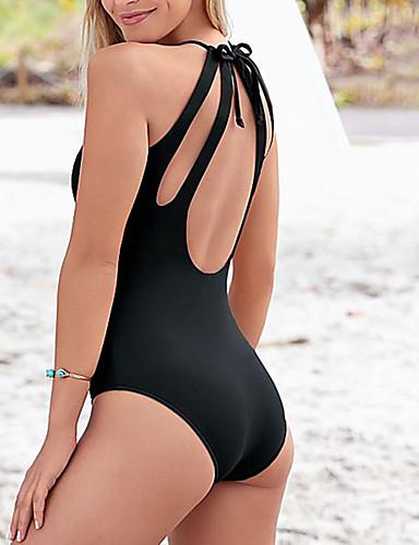 billige Bikinier og damemote-Dame Solid Blå Svart Bukse En del Badetøy - Ensfarget Åpen rygg M L XL Blå / Super Sexy