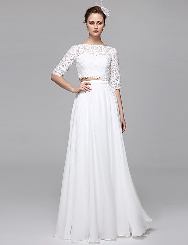 cheap Wedding Dresses-Two Piece / A-Line Bateau Neck Floor Length Chiffon / Corded Lace Half Sleeve Formal Separate Bodies / Illusion Sleeve Wedding Dresses with Draping / Appliques 2020