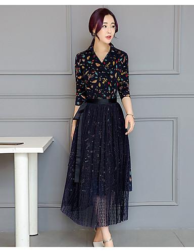 265ab900d1 2017 tavaszán új koreai női csipke ruha kétrészes ruha alkalmi ruha  gallérral mélypont nyomtatott ruha 5660484 2019 – $17.99