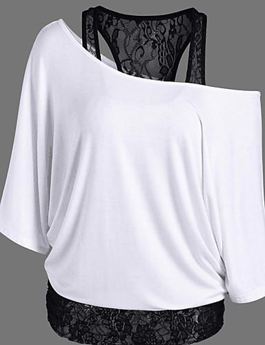 billige Dametopper-Løstsittende Løse skuldre T-skjorte Dame - Ensfarget / Lapper Sofistikert Ut på byen Svart / Blonder
