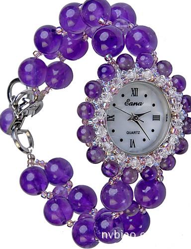 สำหรับผู้หญิง นาฬิกาแฟชั่น นาฬิกาอิเล็กทรอนิกส์ (Quartz) แร่หยก ม่วง ระบบอนาล็อก สีม่วง