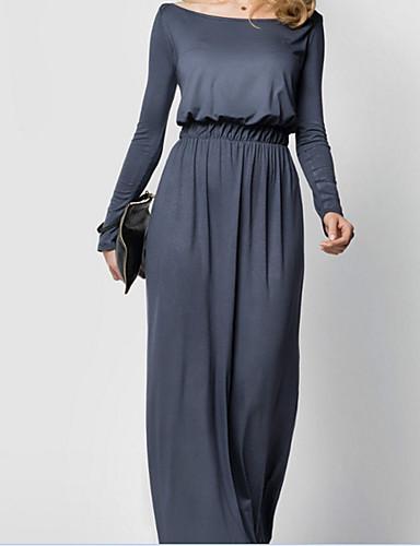 levne Maxi šaty-Dámské Dovolená Jdeme ven Pouzdro Šaty - Jednobarevné Maxi Úzký výstřih