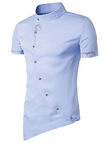 [$16.19] Hombre Tejido Oriental Básico Algodón Camisa, Cuello Mao Delgado Un Color Azul Marino Manga Corta Verano