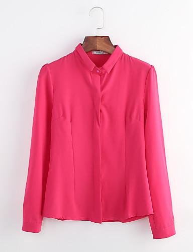 billige Dametopper-Skjortekrage Store størrelser Skjorte Dame - Ensfarget Arbeid Fuksia / Vår