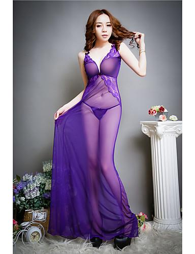 สำหรับผู้หญิง ตารางไขว้ อัลตร้าเซ็กซี่ เสื้อนอน สีพื้น สีม่วง ขนาดเดียว