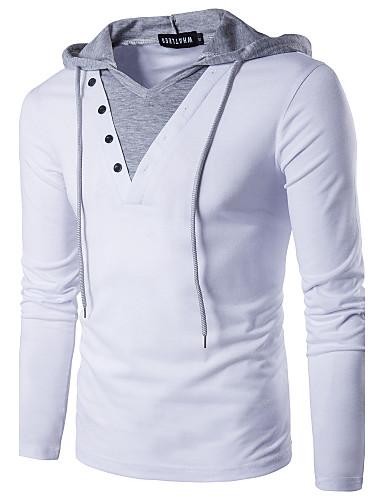 voordelige Verzonden in 24u-Heren Effen Patchwork Slank T-shirt - Katoen Actief Street chic Dagelijks Weekend Capuchon Wit / Zwart / Lange mouw