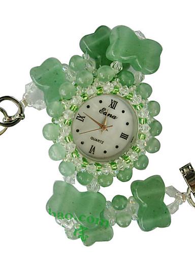 สำหรับผู้หญิง นาฬิกาแฟชั่น นาฬิกาอิเล็กทรอนิกส์ (Quartz) แร่หยก เขียว ระบบอนาล็อก สีเขียว