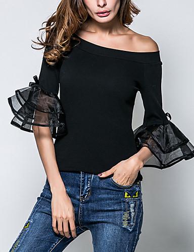 billige T-skjorter til damer-Bomull Båthals T-skjorte Dame - Ensfarget, Drapering Gatemote Ut på byen / Arbeid Svart / Sommer / Høst / flare Sleeve