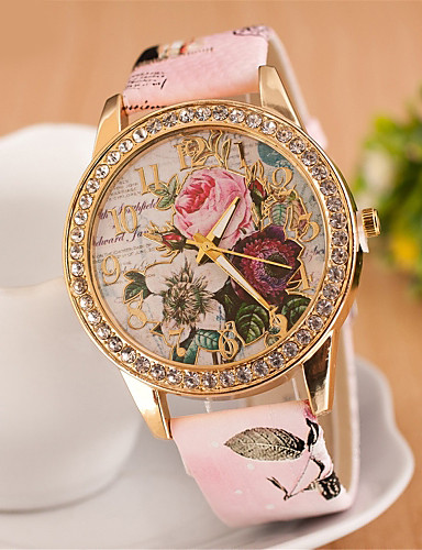 cheap Floral Watches-Women's Wrist Watch Simulated Diamond Watch Diamond Watch Quartz Quilted PU Leather White / Red / Pink Imitation Diamond Analog Ladies Flower Fashion Dress Watch - White Red Pink One Year Battery Life