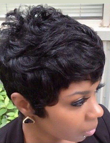cheap 11.11 - Wigs & Hair Pieces Best Sale-Human Hair Capless Wigs Human Hair Natural Wave Pixie Cut / Short Hairstyles 2019 / With Bangs Halle Berry Hairstyles Short Machine Made Wig Women's