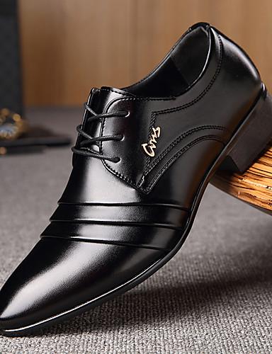 cheap 11.11 - Men's Oxfords Best Sale-Men's Formal Shoes Microfiber Spring / Fall Business Oxfords Walking Shoes Black / Lace-up / Split Joint / Comfort Shoes / EU40