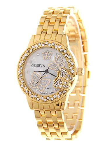 สำหรับผู้หญิง สำหรับผู้ชาย ทุกเพศ นาฬิกาแฟชั่น จำลอง Diamond Watch นาฬิกาอิเล็กทรอนิกส์ (Quartz) โลหะผสม วงดนตรี ลำลอง เงิน ทอง Rose Gold