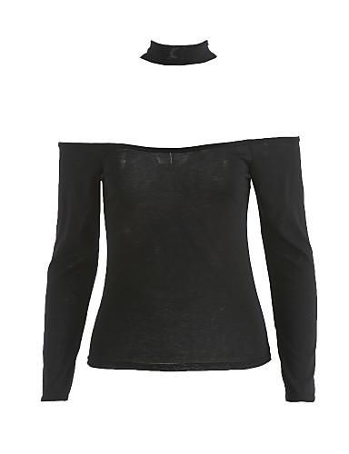 preiswerte Saison für bauchfreien Tops-Damen Solide Baumwolle T-shirt, Bateau Schwarz / Herbst / Halsband