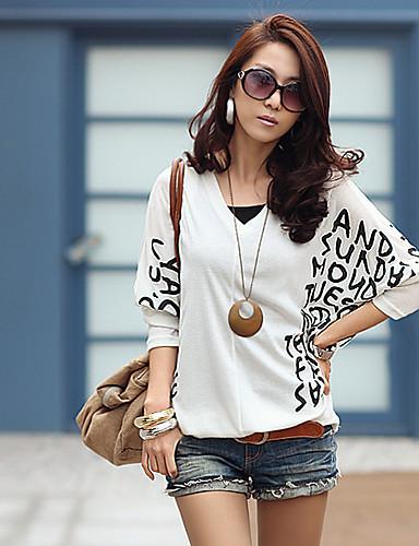 สำหรับผู้หญิง เสื้อเชิร์ต Artistic Style อาร์ต เดคโค ขาว / ฤดูใบไม้ผลิ / ลายวิจิตร
