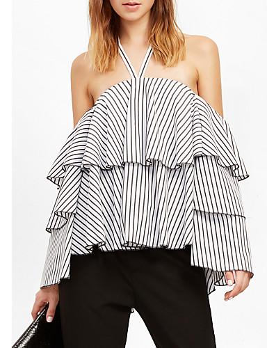 Women's Club / Beach Petal Sleeves Cotton Tank Top - Plaid Halter Neck / Choker