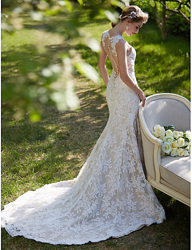 cheap Wedding Dresses-Mermaid / Trumpet V Neck Court Train All Over Lace Regular Straps Sexy Backless Wedding Dresses with Appliques / Button 2020