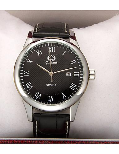 สำหรับผู้ชาย นาฬิกาแฟชั่น นาฬิกาอิเล็กทรอนิกส์ (Quartz) หนัง ดำ ระบบอนาล็อก ไม่เป็นทางการ - ขาว สีดำ