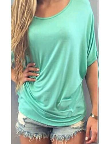 billige Dametopper-Tynn Store størrelser T-skjorte Dame - Helfarge, Klassisk Stil Klassisk & Tidløs Lyseblå