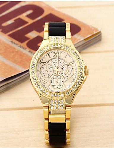 สำหรับผู้หญิง นาฬิกาแฟชั่น นาฬิกาอิเล็กทรอนิกส์ (Quartz) โลหะผสม วงดนตรี ลำลอง ดำ สีขาว เงิน ทอง