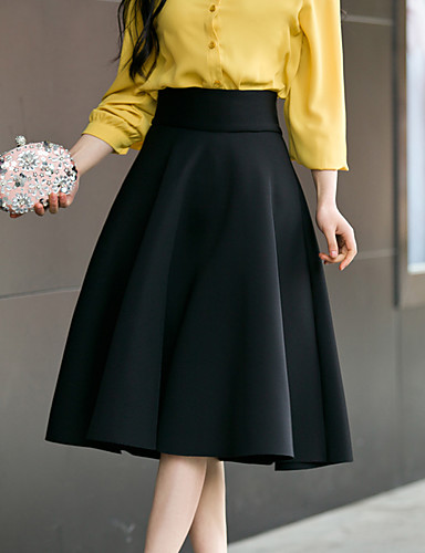bd636a134d393 Women s Going out Street chic Plus Size Cotton A Line Skirts - Solid  Colored High Waist 5712404 2019 –  25.99