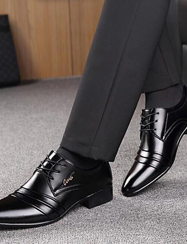 billige Oxford-sko til herrer-Herre Formell Sko Mikrofiber Vår / Høst Forretning Oxfords Gange Svart / Snøring / Kombinasjon / Komfort Sko / EU40