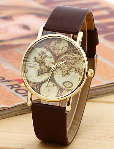 สำหรับผู้หญิง สำหรับผู้ชาย ทุกเพศ นาฬิกาแฟชั่น นาฬิกาอิเล็กทรอนิกส์ (Quartz) หนัง วงดนตรี ลำลอง รูปแบบแผนที่โลก ดำ สีขาว น้ำตาล