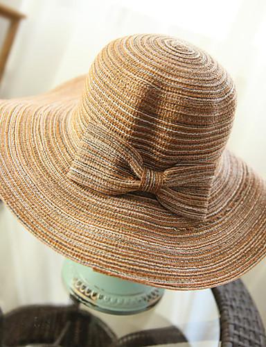 Women's Fashion Straw Hat Sun Hat Wide Brim Hat/Cap Cute Casual Bowknot Striped Beach Summer Khaki 5744490 2018 – $8.39
