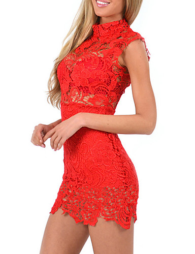 رخيصةأون فساتين للنساء-فستان نسائي ثوب ضيق دانتيل قصير جداً أحمر لون سادة مرتفعة نادي / مثير