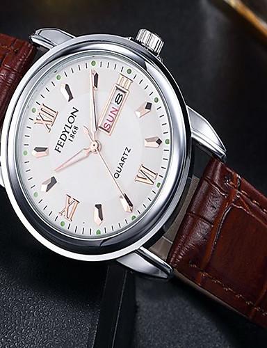 สำหรับผู้ชาย นาฬิกาแฟชั่น นาฬิกาอิเล็กทรอนิกส์ (Quartz) หนัง ดำ / น้ำตาล 30 m / ระบบอนาล็อก ไม่เป็นทางการ - สีดำ สีน้ำตาล