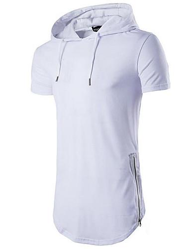 preiswerte Heißer, weißer Sommer-Herrn Solide Sport EU- / US-Größe Baumwolle T-shirt, Mit Kapuze Beige / Kurzarm / Sommer