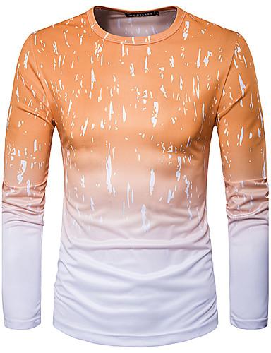 voordelige Heren T-shirts & tanktops-Heren Street chic Print T-shirt Sport Geometrisch Ronde hals Geel / Lange mouw