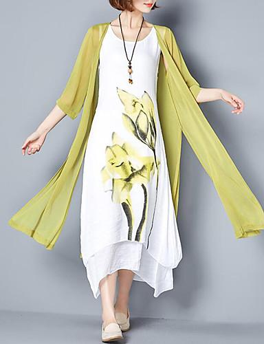 voordelige Maxi-jurken-Dames Grote maten Chinoiserie Katoen Ruimvallend Tweedelig Jurk - Bloemen, Print Maxi