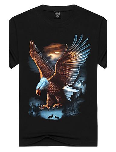 voordelige Heren T-shirts & tanktops-Heren Actief Print T-shirt Katoen, Sport / Strand dier Ronde hals Zwart / Korte mouw / Zomer