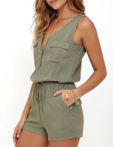 preiswerte Blusentops für den Sommer-Damen Alltag / Ausgehen V-Ausschnitt Grün Jumpsuit Einteiler, Solide Ärmellos Sommer