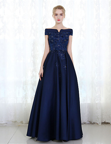 cheap Prom Dresses-Sheath / Column Formal Evening Dress Off Shoulder Sleeveless Floor Length Mikado with Lace Beading 2020