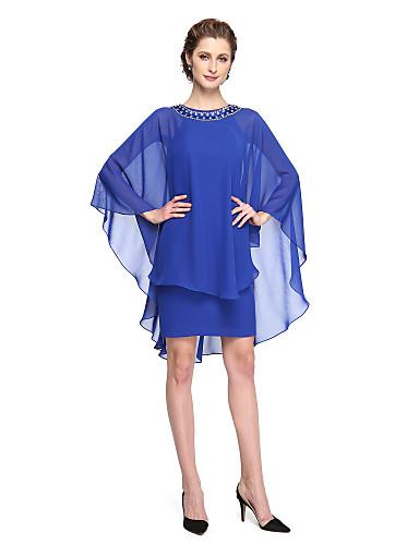 voordelige Wrap Dresses-Strak / kolom Met sieraad Kort / Mini Chiffon / Charmeuse Bruidsmoederjurken met Kralen / Plooien door LAN TING BRIDE®