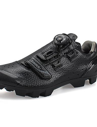 billige Sykling-SANTIC Mountain Bike-sko Karbonfiber Pustende Anti-Skli Sykling Svart Herre Sykkelsko / Syntetisk Mikrofiber PU / Støpt Mikrolås Spenne og Stropp Justerer