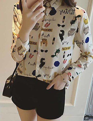 first rate get new cost charm [$8.90] Chemisier Femme,Motif Animal Décontracté / Quotidien simple Manches  Longues Mao Polyester Fin
