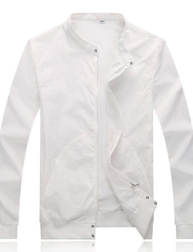 preiswerte Ausverkauf-Herrn Alltag / Ausgehen Frühling / Herbst Standard Jacke, Solide Ständer Langarm Polyester Grundlegend Marineblau / Grau / Leicht Blau