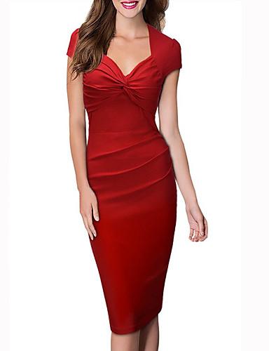 levne Pracovní šaty-Dámské Párty Práce Klub Bavlna Štíhlý Bodycon Pouzdro Šaty - Jednobarevné, Nabírané šaty Délka ke kolenům Do V Červená