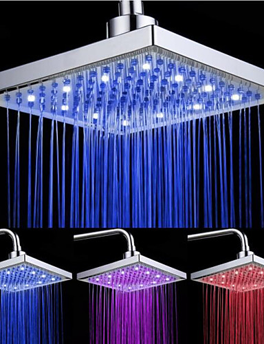 cheap LED Shower Heads-LED Tricolor Luminous Color Top Spray Shower Head With  Temperature /9 Inch Water Booster Top Spray (ABS Plating)