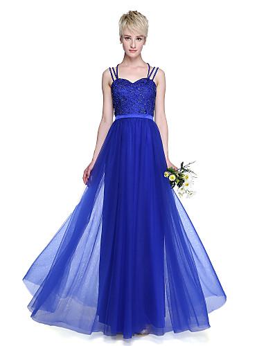 preiswerte Kaiserliches Blau-A-Linie Spaghetti-Träger Boden-Länge Tüll Brautjungfernkleid mit Perlenstickerei / Plissee durch LAN TING BRIDE®